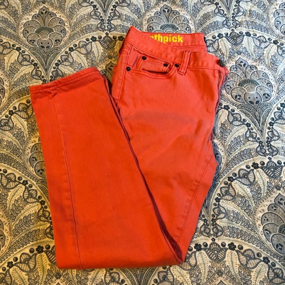 EUC JCrew Toothpick Jeans Coral 28